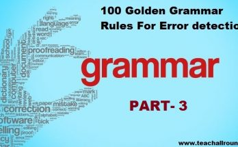 100 Golden Grammar Rules For Error PART 3