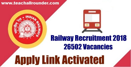 RRB Recruitment 2018-26502 Assistant Loco Pilot (ALP) & Technicians