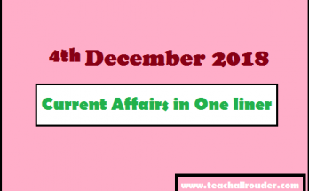 4th December 2018 Current Affairs in One liner