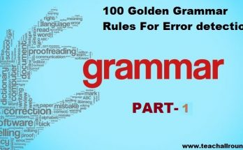 100 Golden Grammar Rules For Error PART 1