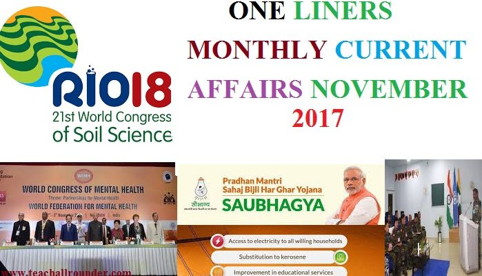 november 2017 month one liner current affairs