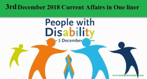 3rd December 2018 Current Affairs in One liner